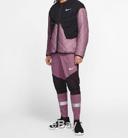 Nike Phenom Pants Mens Size Large Plum Black Silver Running Joggers Shield $120
