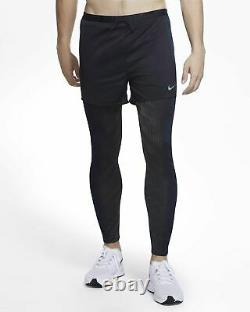 Nike Running Division 2 in 1 Hybrid Pants Tights Shorts Black CU5560 Small