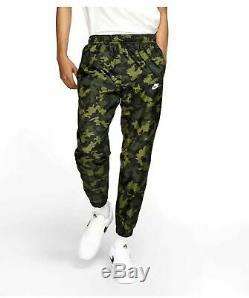 Nike Sportswear Men Woven Green Camo Tracksuit Pants Size S Jogger