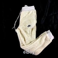 Nike Tech Fleece Icon Sherpa Jogger Pants Light Bone Black AQ2769-072 Mens Large