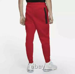 Nike Tech Fleece Jogger Pants Men's Medium-Tall M-Tall Red Black CU4495-657 NWT