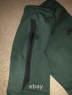 Nike Tech Fleece Jogger Pants Sweatpants Green Black 805162-370 Men's Small New