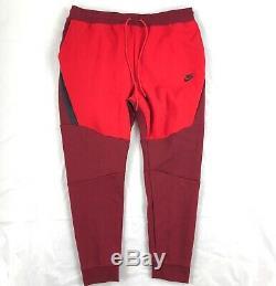 Nike Tech Fleece Jogger Pants Sweatpants Red Black 805162-677 Men's Medium M