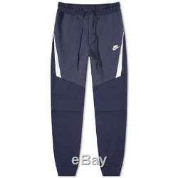 Nike Tech Fleece Joggers Pants Cuffed OBSIDIAN BLUE NAVY WHITE 805162-456 Men's