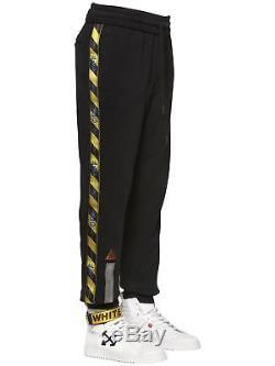 Off White Men's Black Fire Line Tape Cotton Joggers / track pants small virgil