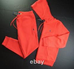 POLO RALPH LAUREN Men's Bright Red Double Knit Full Zip Hoodie & Jogger Set NWT