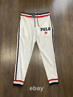 Polo Ralph Lauren Americana Side Tape Jogger Sweatpants White New WithTags Mens L