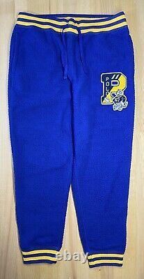 Polo Ralph Lauren Blue Yellow Letterman Tiger Sherpa Pants Joggers Size Large