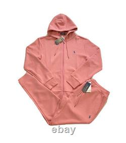 Polo Ralph Lauren Double Knit Tracksuit Hoodie Jogger Pink Coral NWT Mens M