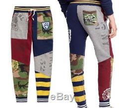 Polo Ralph Lauren Men XL Varsity Military Camo Patchwork Jogger Sweatpants Pants