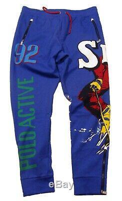 Polo Ralph Lauren Men's Blue Downhill Skier Double Knit Tech Athletic Pants