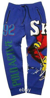 Polo Ralph Lauren Men's Blue Ski Multi Graphic Skier Print Cotton Jogger Pants