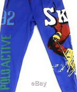 Polo Ralph Lauren Men's Blue Skier Cotton Interlock Jogger Pants (XXL)