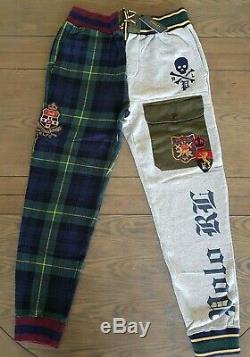 Polo Ralph Lauren Men's Patchwork Tartan Plaid Jogger Fleece Pants Skull Sz M