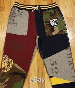Polo Ralph Lauren Men's Varsity Camo Stadium Patchwork Fleece Jogger Pants Sz L