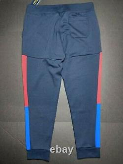 Polo Ralph Lauren Men's XL Navy Multi Logo Print Double Knit Jogger Pants