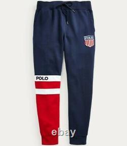 Polo Ralph Lauren Retro Colorblocked America Flag Shield Patch Jogger Sweatpants