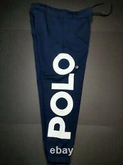 Polo Ralph Lauren Size Medium Navy Multi Logo Print Double Knit Jogger Pants