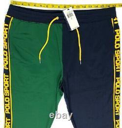 Polo Sport Ralph Lauren Green Navy Track Jogger Sweat Pants Colorblock L, XL
