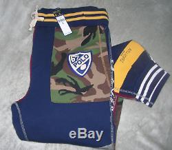 Ralph Lauren POLO Men XL Varsity Camo Patchwork Bleecker Joggers Sweatpants