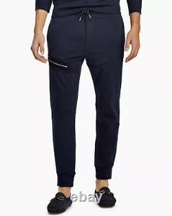 Ralph Lauren Purple Label RLX Navy Pima Suede Trim Athletic Track Pants Joggers