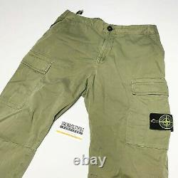 Stone Island Raso Cargo Utility Pants Joggers Mens Cuffed Waist 32 W Green M 33