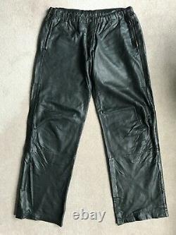 Super Rare ALL SAINTS BLACK LEATHER JOGGERS Trousers Pants Medium