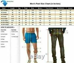 Top Quality Cow skin Classic Mens Black Loose Fit Leather Pants Bike Riding