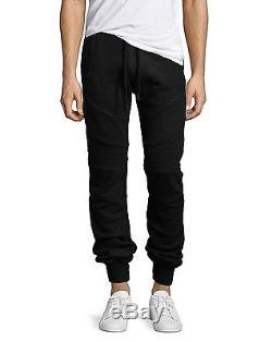 True Religion Brand Jeans Men's Faux Leather Moto Sweatpants Jogger Pants Black