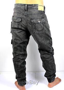 e75de7bf True Religion Brand Jeans Men's Washed Black Cargo Runner Jogger Pants  -mc685xi7