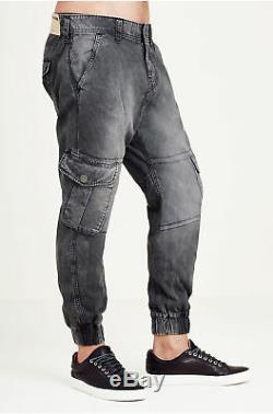True Religion Men's Cargo Runner Jogger Pants in Washed Black