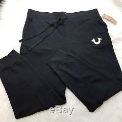 True Religion Mens Joggers Lounge Pants Logo Gym Athletic Size 2XL 2TG Black A5
