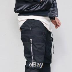 Vertical Double Zip Mens Black Semi Baggy Cargo Banding Jogger Pants By Guylook
