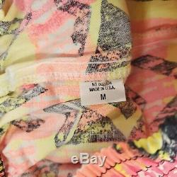 Vintage 80s CYA California Baggy Beach Jogger Pants M Pink Yellow Neon USA