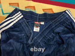 Vintage Adidas Velour Men's Pants Blue Striped Size 2XL XXL Track Joggers
