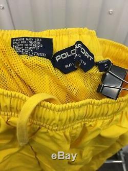 Vintage Polo Sport Track Pants Mens S Joggers Yellow 90s Ralph Lauren Zip Btm