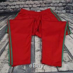 Vtg Adidas Trefoil Joggers Track Pants Red Green Stripes Mens M Medium RARE HTF